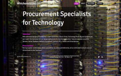 Screenshot of Home Page whichonetobuy.com - Whichonetobuy Procurement Specialists and Cloud Computing Support - captured Oct. 20, 2017