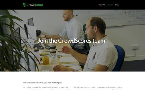 Screenshot of Jobs Page crowdscores.com - CrowdScores - Python & Front End Development Jobs - London - captured Sept. 30, 2014