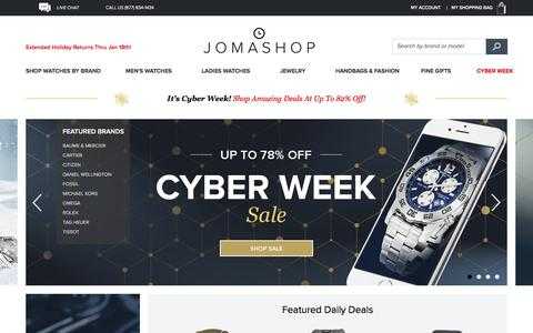 Screenshot of Home Page jomashop.com - Watches For Men and Women, Handbags, Crystal, Pens  - Jomashop - captured Dec. 2, 2015