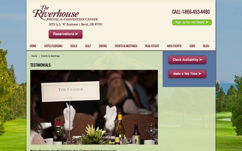 Screenshot of Testimonials Page riverhouse.com - Bend Convention Testimonials | The Riverhouse - captured Nov. 5, 2014