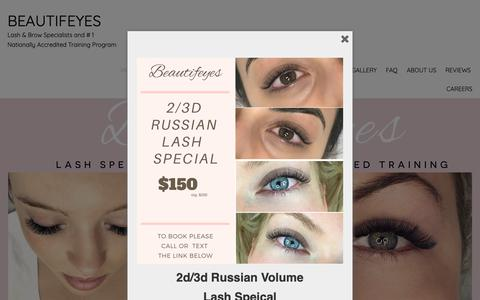 Screenshot of Home Page beautifeyes.com.au - Eyelash Extensions Sydney - Mink, Natural, Silk & Russian Volume Lashes - captured Oct. 5, 2018