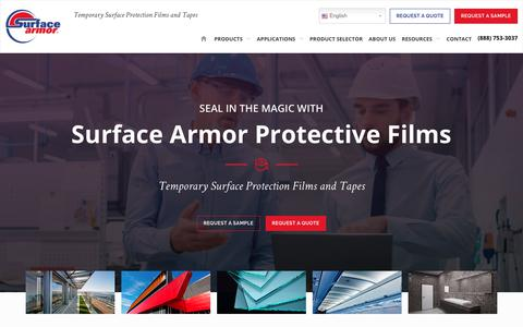 Screenshot of Home Page surfacearmor.com - Protection Film and Tape | Plastic Surface Protection Film - captured Oct. 18, 2018