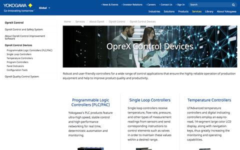 Screenshot of Services Page yokogawa.com - OpreX Control Devices | Yokogawa Electric Corporation - captured Nov. 9, 2019