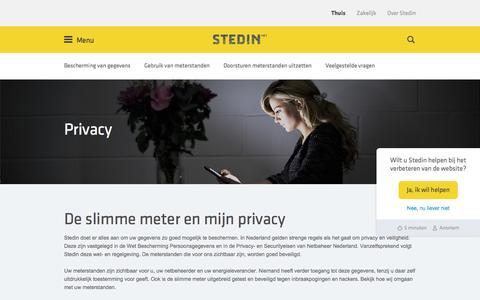 Screenshot of Privacy Page stedin.net - De slimme meter en mijn privacy | Stedin - captured Nov. 16, 2016