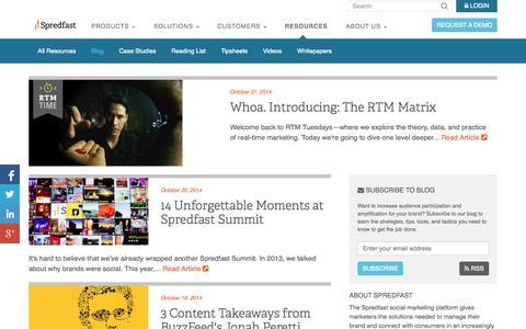 Screenshot of Blog spredfast.com - Social Marketing Blog   Spredfast - captured Oct. 22, 2014