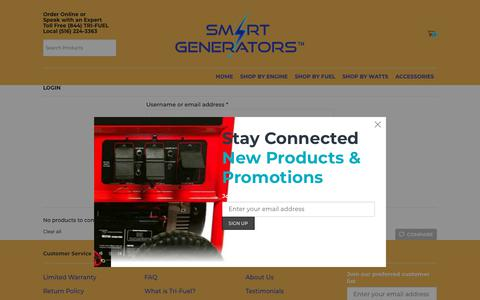 Screenshot of Login Page nysmartgenerators.com - My account - SMART GENERATORS - captured Dec. 21, 2018