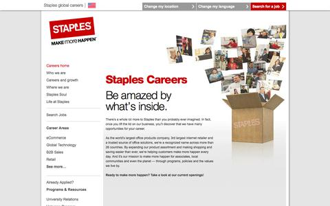 Screenshot of Jobs Page staples.com - Staples Careers and Job Opportunities | Be Amazed by What's Inside - captured Sept. 17, 2014