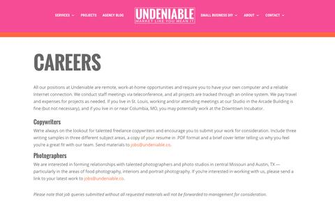 Screenshot of Jobs Page undeniable.co - Careers | St. Louis Web Design, Content Marketing & SEO - captured Dec. 18, 2016