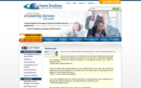 Screenshot of Testimonials Page answerexcellence.com - Testimonials | Answer Excellence - captured Oct. 4, 2014