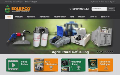 Screenshot of Home Page equipco.com.au - Fuel Equipment | Latest Fuel Handling Equipment in Australia | Equipco - captured Sept. 30, 2014