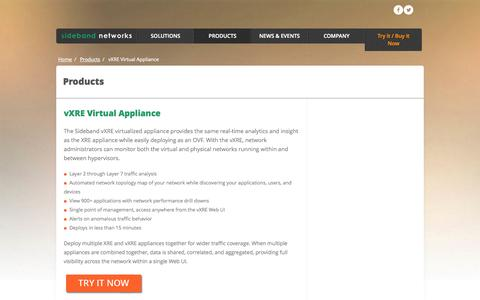 Screenshot of Products Page sidebandnetworks.com - vXRE Virtual Appliance «  Sideband Networks - captured Sept. 17, 2014