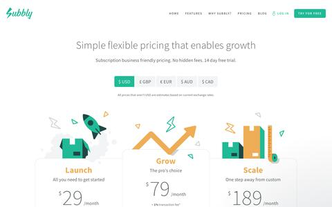 Screenshot of Pricing Page subbly.co - Andrija says… - captured Jan. 2, 2018