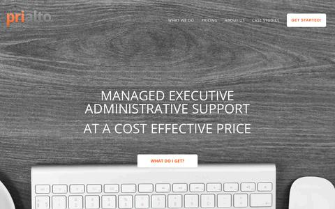 Screenshot of Pricing Page prialto.com - Prialto - Pricing for our Virtual Assistants for Executives - captured Nov. 3, 2018