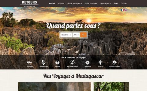 Screenshot of Home Page voyagemadagascar.com - Voyage Madagascar - Agence de voyage à Madagascar - captured Oct. 13, 2017