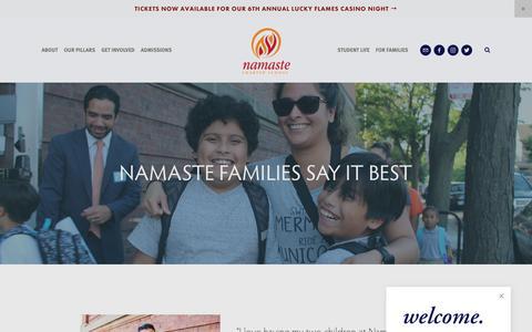 Screenshot of Testimonials Page namastecharterschool.org - TESTIMONIALS — Namaste Charter School - captured Nov. 7, 2018
