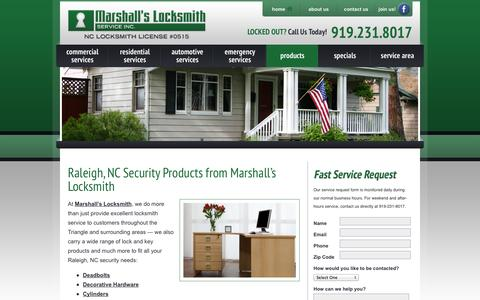 Screenshot of Products Page marshallslocks.com - Lock & Key Products Raleigh NC | Licensed Locksmith Security Solutions - captured Oct. 27, 2014