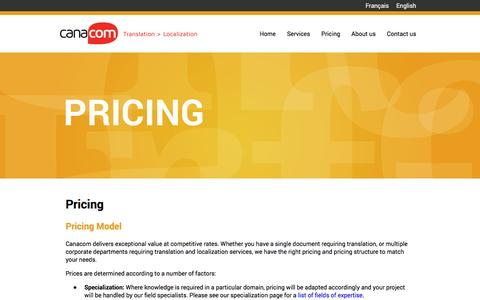 Screenshot of Pricing Page canacom.com - Pricing - Canacom - Translation > Localization - captured May 13, 2017