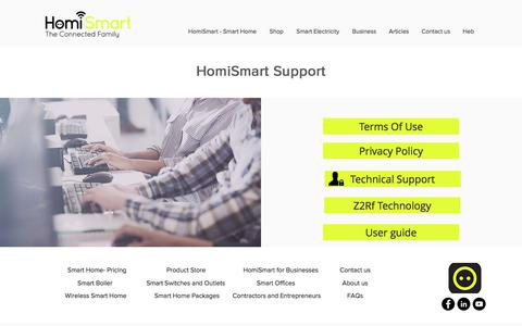 Screenshot of Support Page homismart.com - HomiSmart the connected family  | Support - captured July 14, 2018