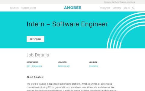 Screenshot of Jobs Page amobee.com - Intern - Software Engineer — Amobee - captured Nov. 18, 2019