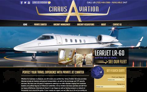 Screenshot of Home Page cirrusav.com - Private Jet Charters | Executive Jet Charter | 702-448-2366 - captured Oct. 2, 2014