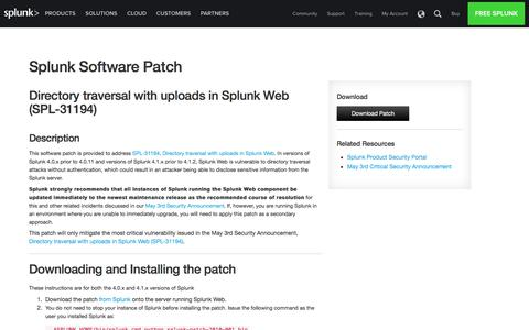 Splunk | Software Security Patch