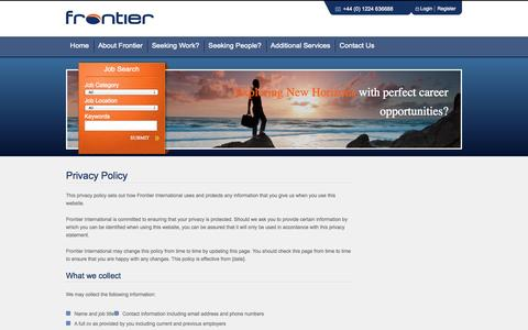 Screenshot of Privacy Page frontierinternational.co - Engineer Recruitment for Oil and Gas, Aberdeen - captured Sept. 30, 2014