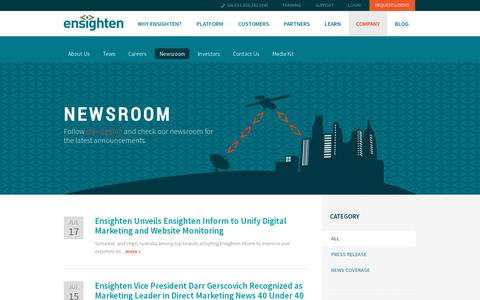 Screenshot of Press Page ensighten.com - Newsroom | Ensighten - captured July 19, 2014