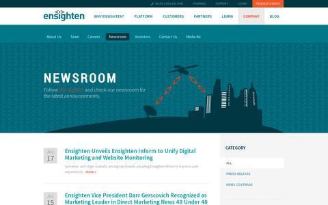 Screenshot of Press Page ensighten.com - Newsroom | Ensighten - captured July 19, 2014