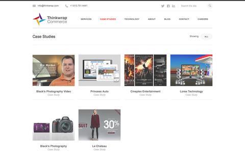 Screenshot of Case Studies Page thinkwrap.com - Think Commerce: Case Studies | Thinkwrap Commerce - captured Sept. 22, 2014
