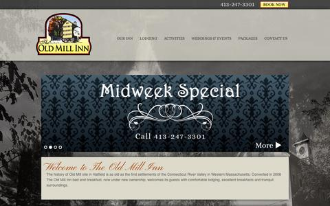 Screenshot of Home Page oldmillinn.ma - Welcome to the Old Mill Inn Bed and Breakfast | Hatfield, MA - captured Sept. 30, 2014