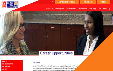 Screenshot of Jobs Page uwsn.org - Career Opportunities | United Way of Southern Nevada - captured March 4, 2018