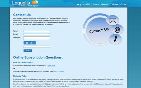 Screenshot of Contact Page loquella.com - Contact Us - captured Oct. 3, 2014