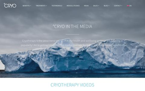 Screenshot of Press Page cryo.com - Cryotherapy in the Media | °CRYO Stay Young - captured Nov. 12, 2016