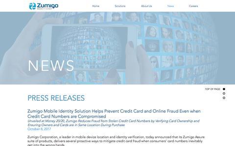 Screenshot of Press Page zumigo.com - zumigoinc | News - captured Nov. 1, 2017