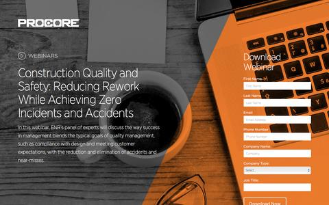 Screenshot of Landing Page procore.com - Construction Quality and Safety - captured March 15, 2016
