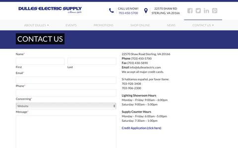 Screenshot of Contact Page dulleselectric.com - Contact Us   Dulles Electric Supply - captured Oct. 9, 2018