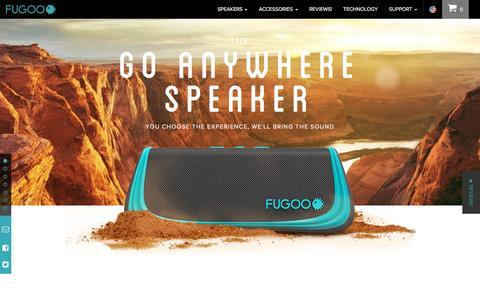 Screenshot of Home Page fugoo.com - The Best Waterproof Bluetooth Speakers for Outdoors - FUGOO - captured July 3, 2016