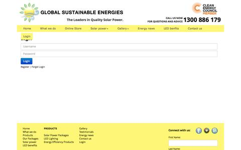 Screenshot of Login Page gsegroup.com.au - Login | Global Sustainable Energies - captured Oct. 8, 2014