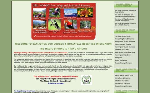 Screenshot of Home Page eco-lodgesanjorge.com - Ecuador Birding Tours ~ San Jorge Eco-lodge & Botanical Reserve - captured June 19, 2015