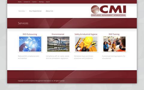 Screenshot of Services Page complianceplace.com - Services | Compliance Management International - captured Nov. 10, 2016