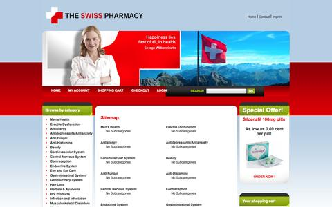 Screenshot of Site Map Page theswisspharmacy.com - The Swiss Pharmacy - Sitemap - captured Nov. 1, 2014
