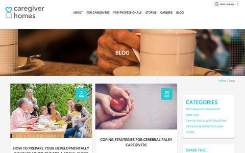 Screenshot of Blog caregiverhomes.com - Caregiving Blog   Caregiver Homes - captured Nov. 7, 2017