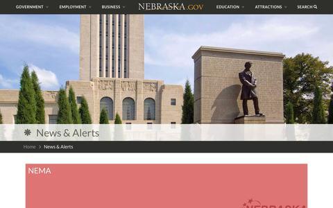 Screenshot of Press Page nebraska.gov - News & Alerts | Nebraska.gov - captured May 23, 2016