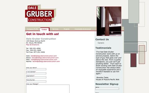 Screenshot of Contact Page dalegruberconstruction.com - St. Cloud General Contractors, Dale Gruber Construction - Contact Us - captured Sept. 30, 2014