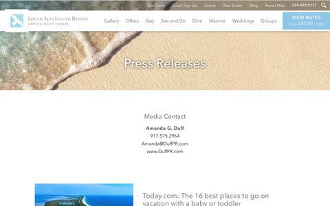 Screenshot of Press Page southseas.com - Press Release - South Seas Island Resort - captured Sept. 24, 2018