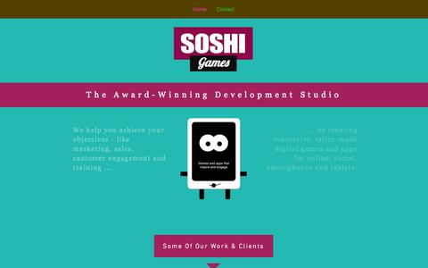 Screenshot of Home Page soshigames.com - SoshiGames: The Award-Winning Mobile Game Developer - captured Sept. 17, 2014