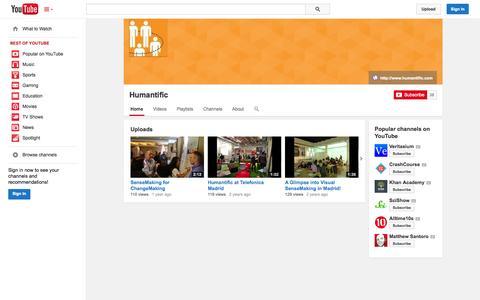 Screenshot of YouTube Page youtube.com - Humantific  - YouTube - captured Oct. 22, 2014