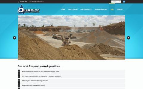 Screenshot of FAQ Page quarrico.com.au - Aggregates quarry suppliers Bowen Basin Quarrico Products - captured Feb. 1, 2016
