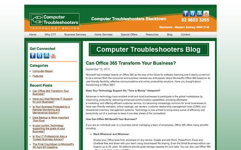 Screenshot of Blog ctblacktown.com.au - Blog | Computer Troubleshooters Blacktown - captured Oct. 3, 2014