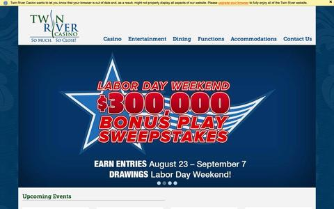 Screenshot of Home Page twinriver.com - Twin River Casino | Lincoln, Rhode Island - captured Sept. 2, 2015